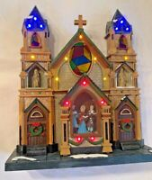 Vintage Christmas Cathedral Church Carolers Choir Musical Light Up Plastic