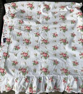 Ralph Lauren Emma King Ruffled Flat sheet Blue Stripe Rose Vintage Sophie Floral