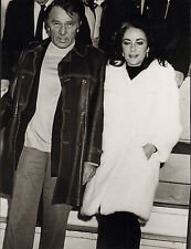 elizabeth taylor & richard burton.modern glossy photo. white fur coat !
