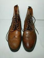 Stafford 014-1218 Brown Leather Lace-Up Brogue Wingtip Ankle Boots Men's US 9M