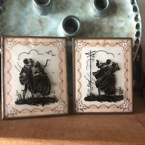 2 Vintage Bubble Glass Picture Silhouette 4x5 Man and Woman Shadow