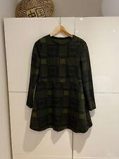 Zara Green Checked Long Sleeve Dress, Size Small