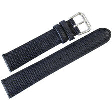 16mm deBeer Mens Navy Blue Lizard-Grain Leather Watch Band Strap