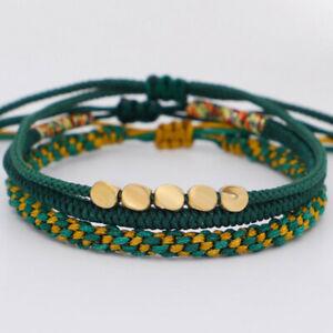 3pcs/set Tibetan Copper Bead Lucky Rope Bangles Women Men Handmade Bracelet