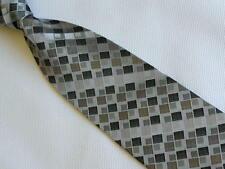 Mens Necktie Silk Tie Grey Silver Black Checker