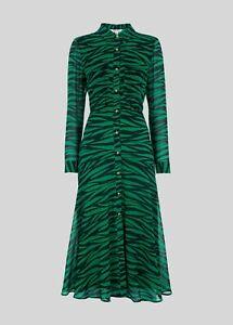 Gorgeous Carys Green Tiger Print Midi/Maxi Dress Size XS 0/4/6. BNWT.