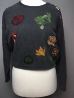 Zara Collection Cropped Grey Floral Embroidered Sweater Top Size Small