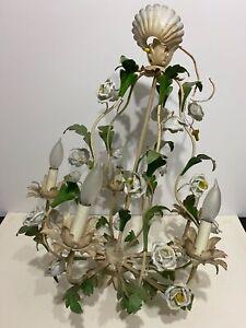 VTG Painted Metal Ornate Floral Hanging Lamp Chandelier w/ Glass Flower Blossoms