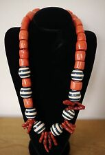 Tory Burch Prototype Real Coral Wood Bead Resort Wear Chunky Statement Necklace