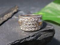 Wunderschöner 925 Silber Ring Breit Zirkonia Elegant Vintage Retro Tolles Design
