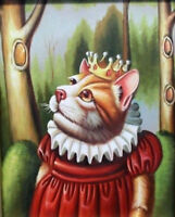 ZWPT669 fancy animal cat 100%  hand painted art oil painting wall art on canvas