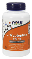 NOW FOODS L-Tryptophan 500mg 60 Veg Caps, SHIPPING WORLDWIDE