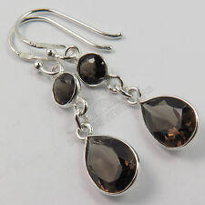 925 Solid Sterling Silver Real SMOKY QUARTZ Gemstones Pretty Earrings 1 1/2 Inch