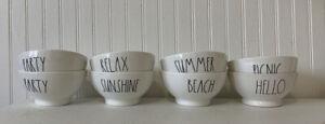 Rae Dunn Bowl Set X8 Relax - Sunshine - Summer - Beach - Pinic - Party - Hello