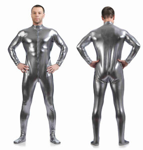 Mens Women Latex Rubber Tights Bodysuit Lycra Underwear Jumpsuit Costume Zipper