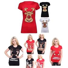 NEW WOMEN'S SHORT SLEEVE CHRISTMAS RUDOLPH STRETCHY LADIES T-SHIRT PLUS SIZE TOP