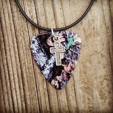 Mossy Oak Camo Guitar Pick Silver Cross Charm Country Girl Black Necklace Jewelr