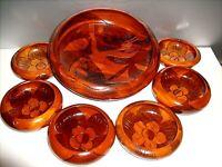VTG Wood Bowl Set of 7 Hand Carved Asian Koi Fish & Flower Design