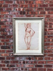 Original Early Signed Lorser Feitelson Nude Female Study. Signed. 1917