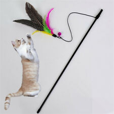 Pet cat toy cute bird colorful feather teaser wand plastic toy for cats Nj