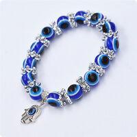 1PC Hamsa Fatima Hand Evil Eye Bracelet Handmade Beads Elastic Band Unisex NEW