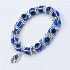 1PC Hamsa Fatima Hand Evil Eye Bracelet Handmade Beads Elastic Band Unisex NEW