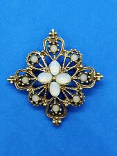 Vintage Victorian  Faux Opal Brooch Pin Gold Tone