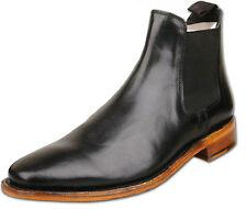 Mens Negro De Cuero Completo Botas al tobillo moda Slip On Chelsea UK Size 9