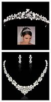 Bridal Wedding Necklace Tiara Set Clear Swarovski Crystal White Pearl