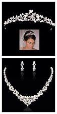 Bridal Wedding Necklace Tiara Set Clear Swarovski Crystal Pearl
