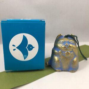 Japanese Wind Chime Cast Iron Gold/Blue Lucky Maneki Neko Cat 485-265 JAPAN MADE