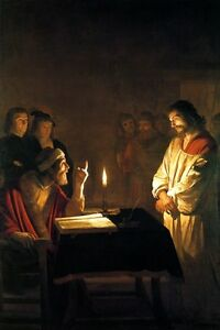 JESUS CHRIST BEFORE THE HIGH PRIEST CANDLE  PAINTING BY GERRIT HONTHORST REPRO