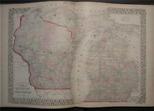 1874 Antique Mitchell County Map of Michigan Wiscounsin