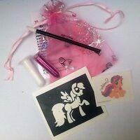 My little pony  party bag fillers UNIQUE STUNNING Glitter tattoo kits free tat