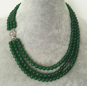3Rows 6mm Natural Green Jade Round Gemstone Beads Necklace 17-19''