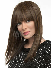 100% Human Hair! Pretty Light Brown Mix Real Hair Women Medium Straight Wig