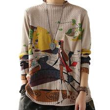 2020 Winter Korean Fashion Womens Printed Vintage Sweaters Turtleneck Pullovers