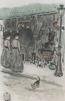 Charming Original Jean-francois Raffaelli Aquatint Etching