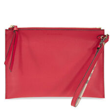 Burberry Haymarket Check and Leather Pouch - Poppy Red