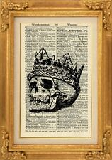 ORIGINAL - Gothic Skull King Print on Vintage Dictionary Page-Wall Art - NO.467B