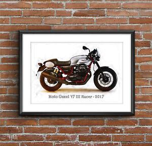 Moto Guzzi V7 III Racer - 2017, Art Sketch Poster [without frame]
