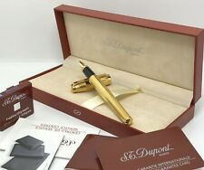 ST Dupont Fidelio GP Stripes Gold Plated Fountain Pen 14K Gold Nib