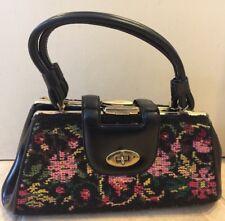 Vintage Black Floral Needlepoint Tapestry Double Hinge Framed Handbag Purse