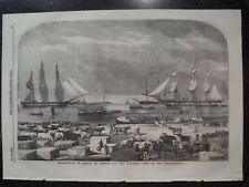 Ships In Harbor Trieste Port City Italy Adriatic Coast Two Views 1854