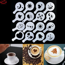 16Pcs/set Coffee Milk Cake Cupcake Plastic Stencil Template Mold Decoration Tool
