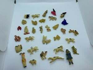 Vintage Large Lot of Celluloid Ivorine Charms Pendants - Animals Clowns People