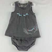 Harley Davidson Girls 2 pcs Denim Dress Diaper Cover 24 Mos Grey Sleeveless