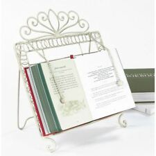 Cream Wrought Iron Cook Book Stand With Page Weights