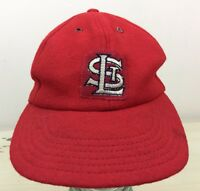 ST LOUIS CARDINALS - Vtg 50s-60s Wool-Blend Red Fitted Union Made Hat, LARGE