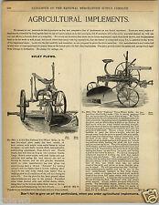 1892 PAPER AD The National Two Three Wheel Sulky Plow Farm Farming Equipment